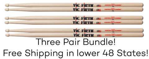 Vic Firth 7A Wood Tip Drumsticks 3 Pair Bundle