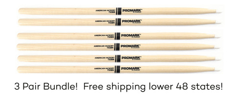 Promark 5B Hickory Nylon Tip Drumsticks 3 Pair Bundle