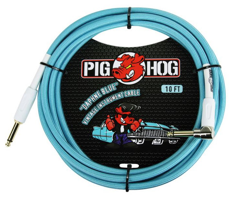 "Pig Hog ""Daphne Blue"" Instrument Cable, 10ft 1/4"" S- 1/4"" Right Angle"