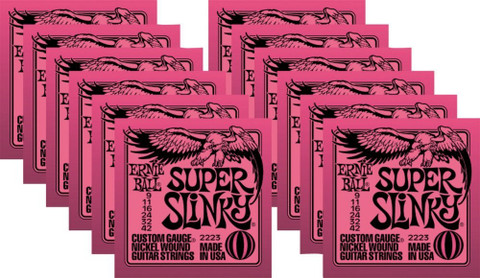 Ernie Ball 2223 Super Slinky Electric Guitar Strings 9-42 12 Pack Special