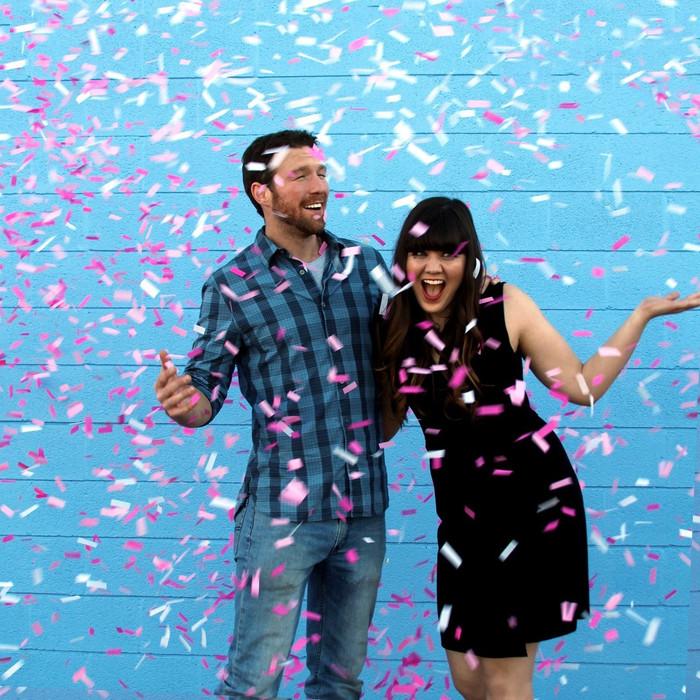 Gender Reveal - Pink Confetti Sticks (Pack of 10)