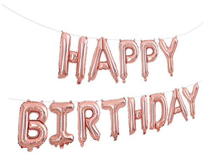 Happy Birthday 16 inch balloons - Rose Gold - Silver or Gold