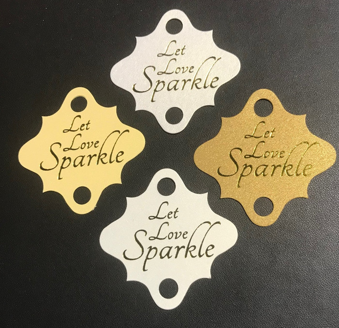 'Let Love Sparkle' Wedding Tags on Dark Kraft (pack of 24)