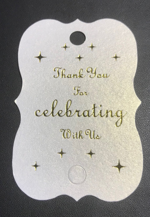 'thank you for celebrating with us' wedding tags white.