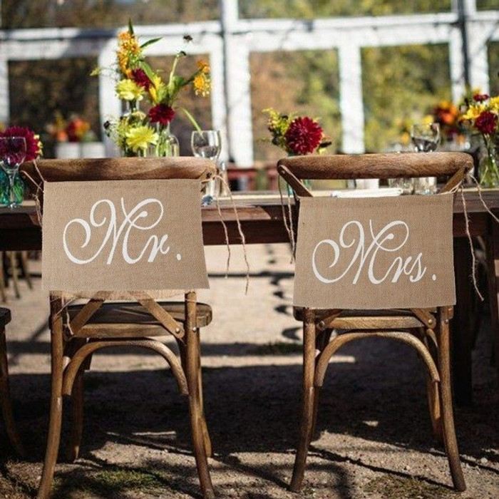 Mr and Mrs Chair Banners for Wedding Decoration