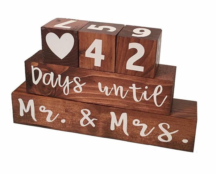Mr. & Mrs. Wooden Block Wedding Day Countdown
