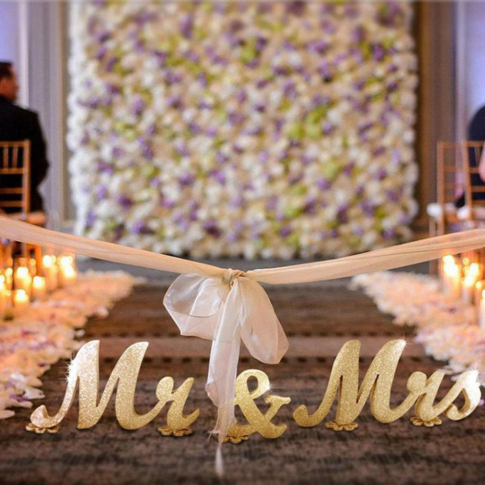 Mr and Mrs Sign Wedding Decorations - Gold Sparkle