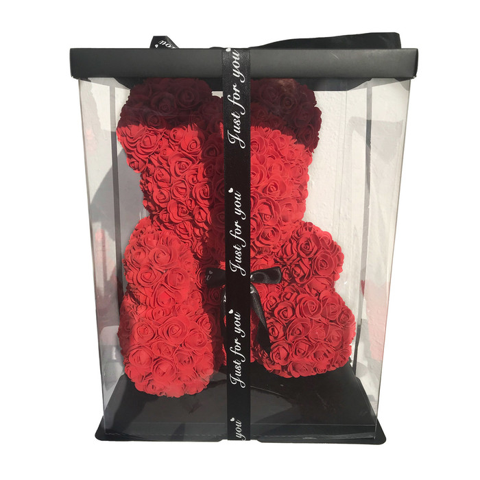 """16"""" Teddy Bear Forever Roses Artificial Rose Anniversary Christmas Valentines Gift  (16"""", One Bear + Acrylic Box)"""