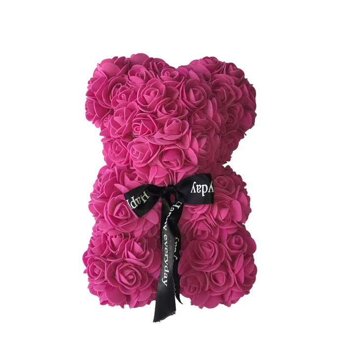"10"" Teddy Bear Forever Roses Artificial Rose Anniversary Christmas Valentines Gift  (10"", One Bear + Acrylic Box)"