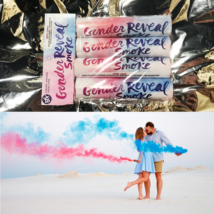New! Gender Reveal Smoke | 2 Blue & 2 Pink | (Pack of 4)