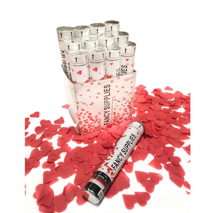 """12"""" Confetti Cannon - Red Hearts"""