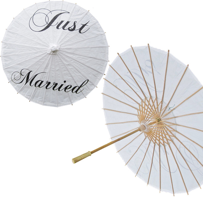 'Just Married' Paper Umbrella Wedding Parasol Traditional Chinese Paper Parasol for Wedding Decoration (1, Just Married)