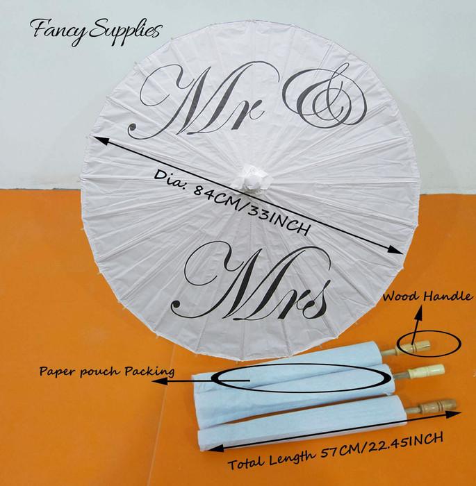 'Mr. & Mrs.' Paper Umbrella Wedding Parasol Traditional Chinese Paper Parasol for Wedding Decoration (1, Mr. Mrs)