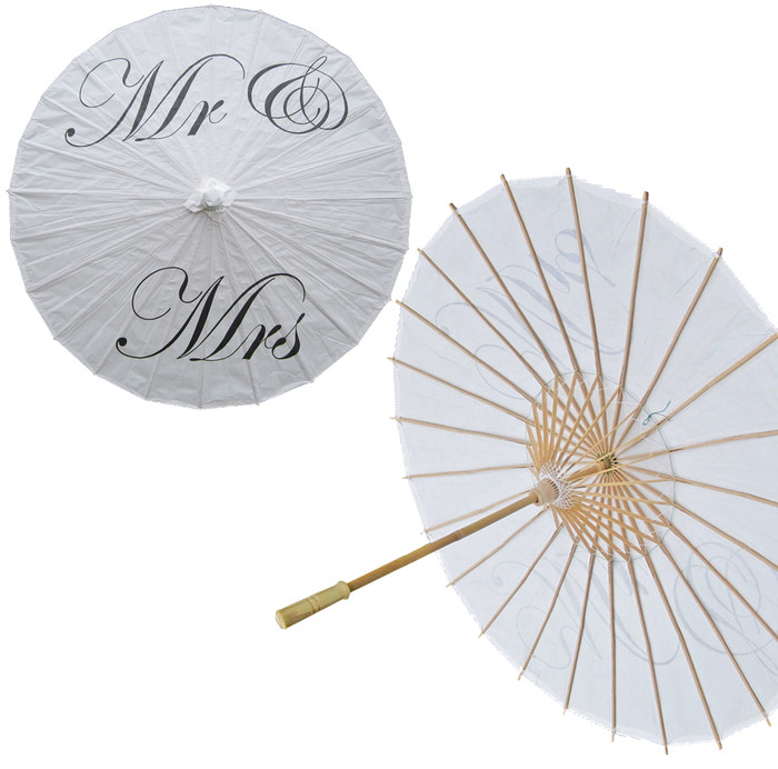 'Mr. & Mrs.' Paper Umbrella Wedding Parasol Traditional Chinese Paper Parasol for Wedding Decoration (1, Mr. Mrs)