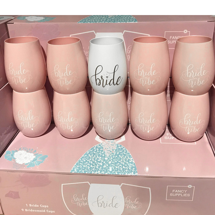 10 Pink Stemless Wine Cups 1 Bride + 9 Bride Tribe Glasses Pink White plastic bachelorette bridesmaid maid of honor (Set of 10)