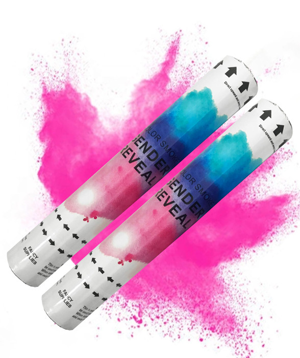 Fancy Supplies Pack of 2 Pink or Blue Baby Gender Reveal Smoke Cannon (Pack of 2)