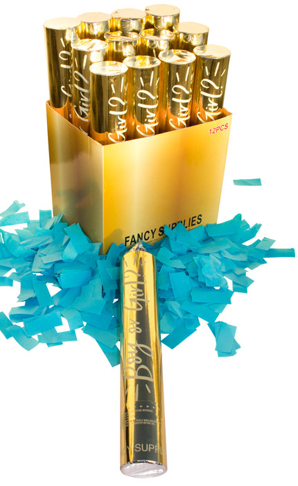 """Gold 12"""" Gender Reveal Confetti Cannons - Blue"""