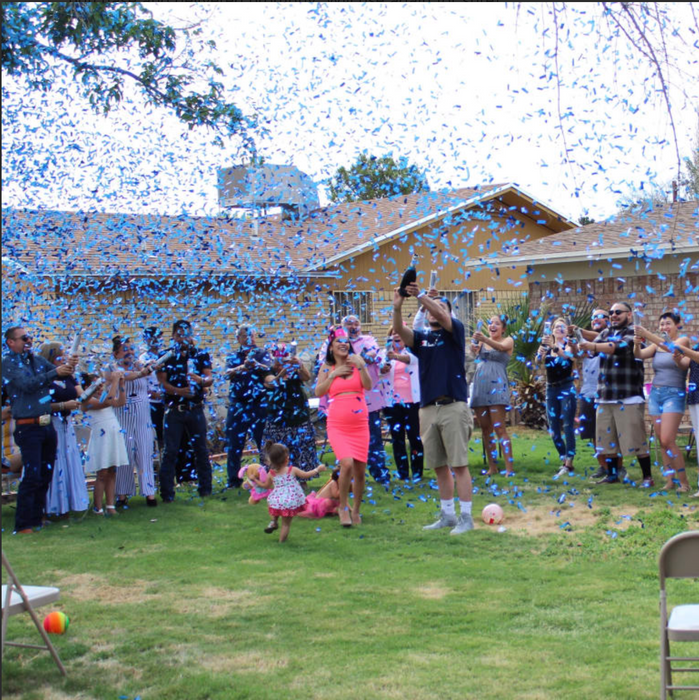 "Gold 12"" Gender Reveal Confetti Cannons - Blue"