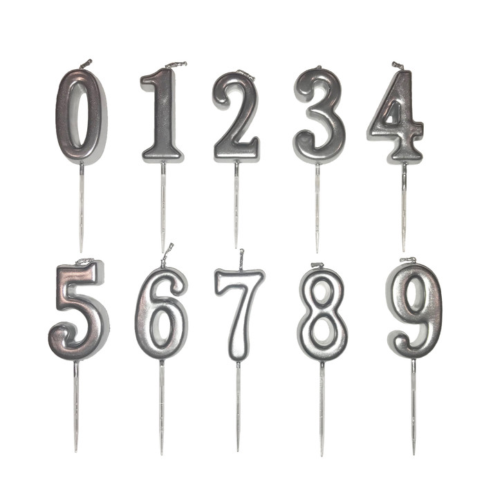 Silver Number Birthday Anniversary Wedding Candle (Silver 3-inch)