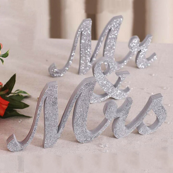 Mr and Mrs Sign Wedding Decorations - Silver Sparkle