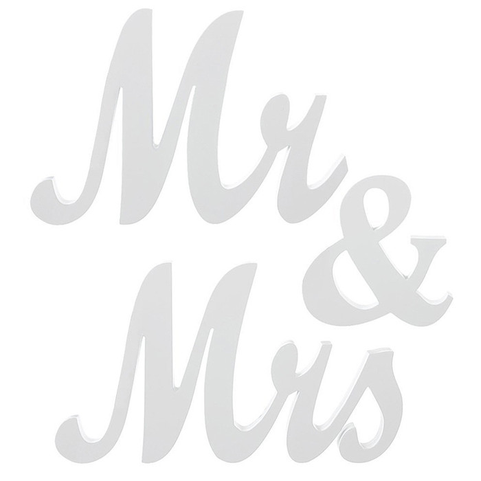 Mr and Mrs Sign Wedding Decorations - White