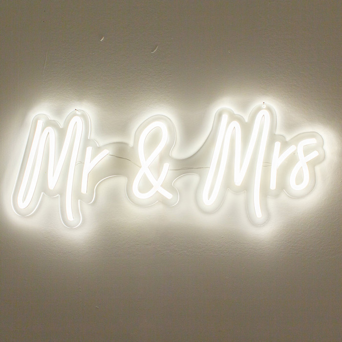 Mr. & Mrs. White Neon Sign Decorative Wedding Clear Acrylic Backed for Hanging or Mounted Decor (Neon Sign) (White)