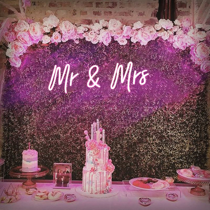 Mr. & Mrs. Pink Neon Sign Decorative Wedding Clear Acrylic Backed for Hanging or Mounted Decor (Neon Sign) (Pink)