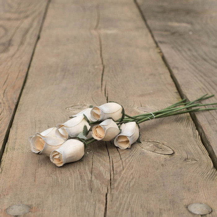 Lifelike Wooden Long Stem Roses - Artificial Flower