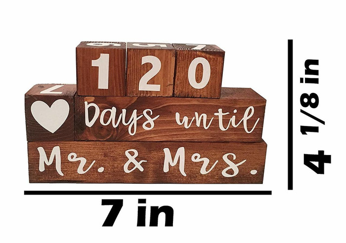 Mr. & Mrs. Wooden Block Wedding Day Countdown - Days Until & Years Since