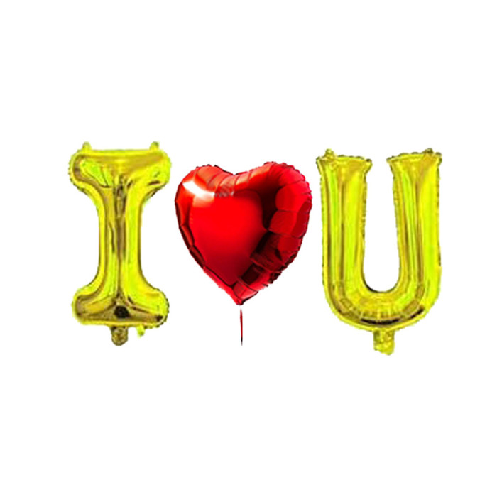 """I <3 U Balloon Red 30""""inch Heart Balloon with 40""""inch Gold or Silver Letters romantic love celebration"""