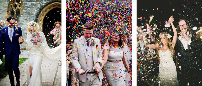 Newlywed send off with confetti cannons