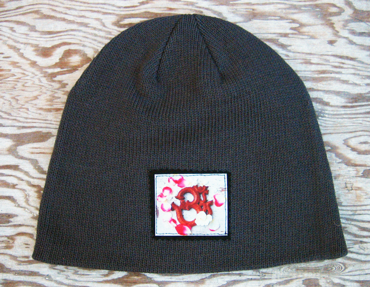 Om with rose petals Organic Cotton Beanie Hat - Dharma Love 7ee222b7d38