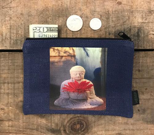 Buddha w/Gerber Daisy Medium & Large Hemp Coin Purse