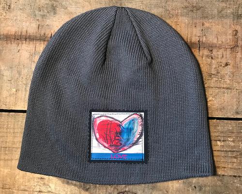Cosmic Interlude of Love Heart Organic Cotton Beanie Hat
