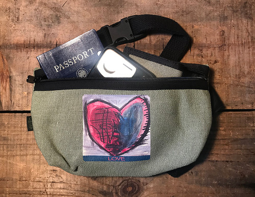 Cosmic Interlude of Love Heart Hemp Hip Pack & Cross Body Bag