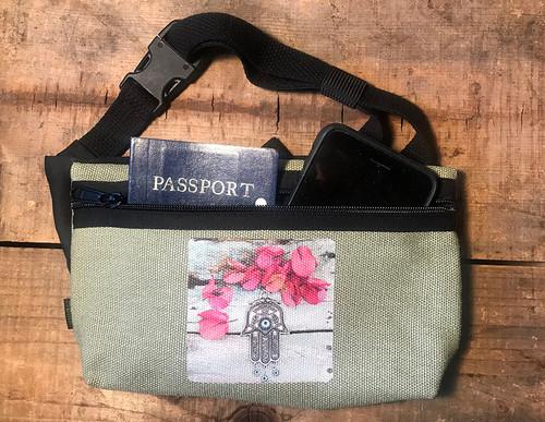 Hamsa (Hand of Protection) Hemp Hip Pack & Cross Body Bag