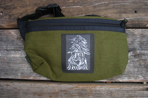 Pine Tree with Heart Hemp Hip Pack & Cross Body Bag