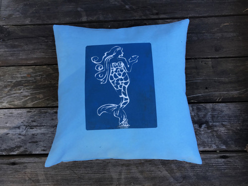 Mermaid Handcrafted, Eco Dyed, Cotton Pillow