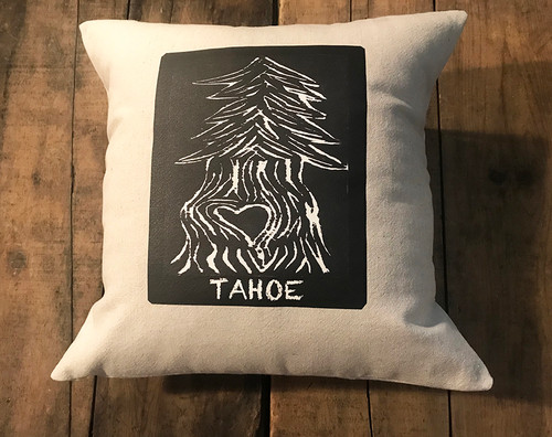 Pine Tree with Heart Tahoe Handcrafted Cotton Pillow