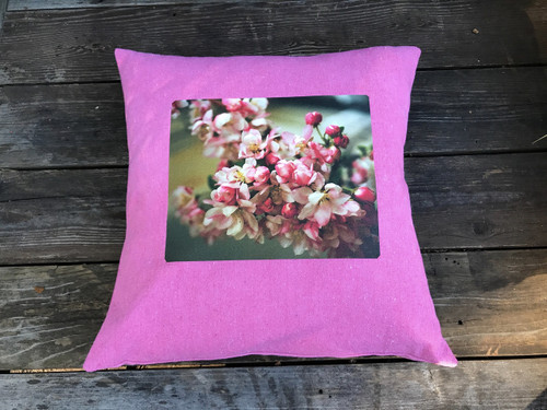 Pink Blossoms Handcrafted, Eco Dyed, Cotton Pillow