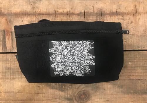 Black Sunflower (Woodcut) Hemp Hip Pack & Cross Body Bag