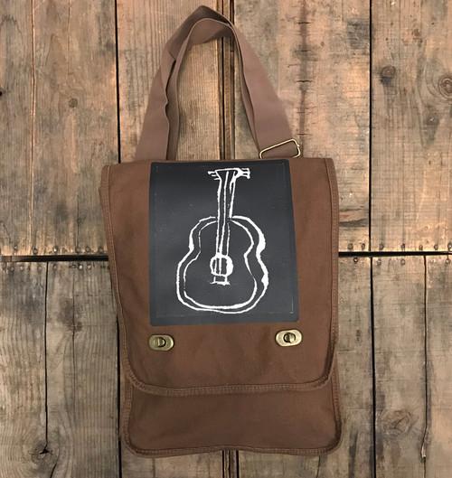 Guitar (Block Print) Cotton Canvas Field/Messenger Bag