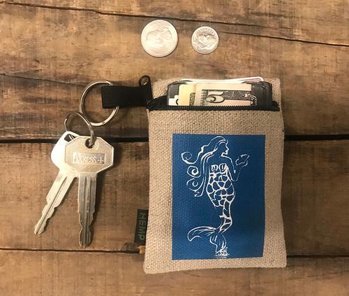 Mermaid Block Print) Hemp Key Coin Purse/Pouch