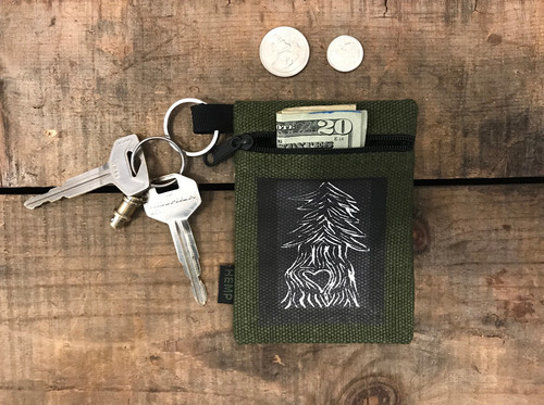 Pine Tree with Heart (Block Print) Hemp Key Coin Purse/Pouch
