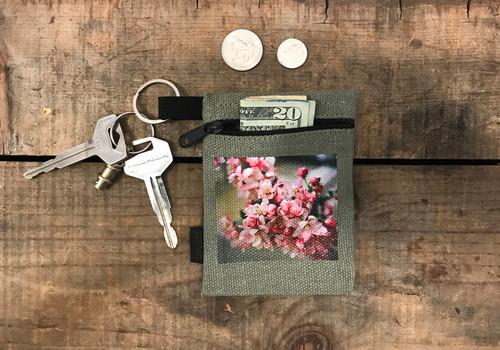 Pink Blossoms Hemp Key Coin Purse