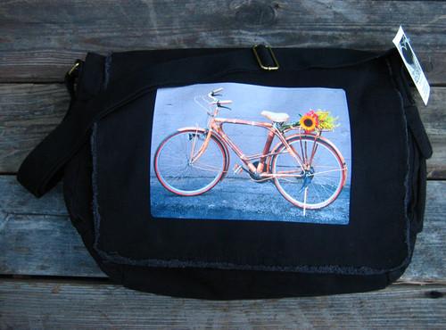 Bamboo Bike Cotton Canvas  Messenger Bag
