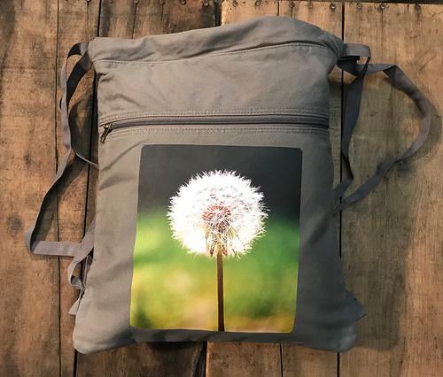 Make a Wish (Dandelion) Boho Cotton Canvas Cinch Backpack