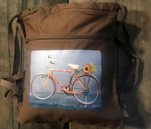 Bamboo Bike (Vintage Vietnamese Bicycle) Boho Cotton Canvas Cinch Backpack