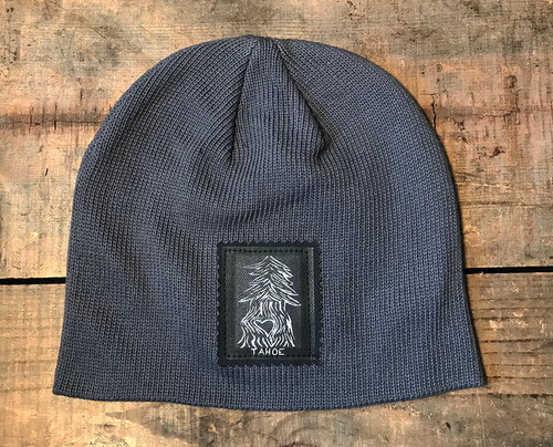 Pine Tree with Heart Tahoe (Block Print)Organic Cotton Beanie Hat
