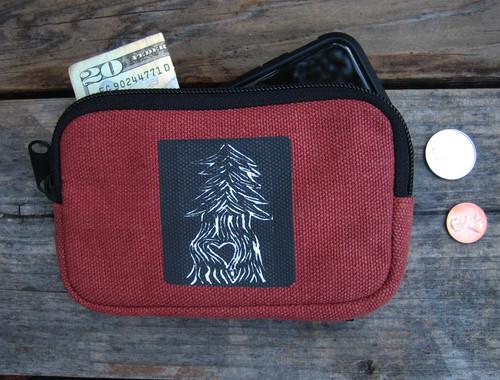 Pine Tree with Heart Hemp I Phone Wallet